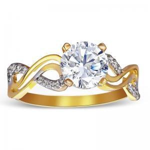 14K-RGTK6 14k 2t color gold infnity engagement ring 2.9 g