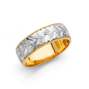 RG2354-555x555 14k 2tone gold leaves 6mm weding band. 4.4-5.6 mm $ $369.99